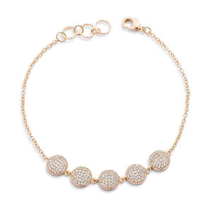 0.8ct CZ Goldtone Pave Disc Bracelet - Jewelry Xoxo