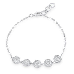 Carol 0.8ct CZ Rhodium Pave Disc Bracelet - Jewelry Xoxo