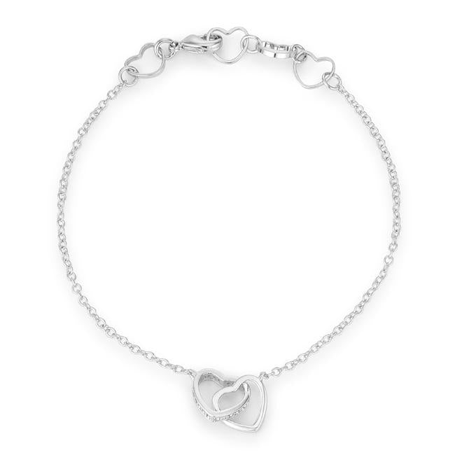 .12 Ct Rhodium Interlocked Hearts Bracelet with CZ Accents - Jewelry Xoxo