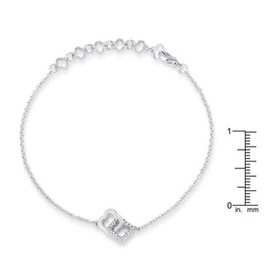 .1 Ct Rhodium Bracelet with Interlocking Floral Links - Jewelry Xoxo