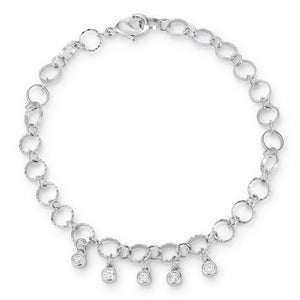 .55 Ct Stunning 8 Rhodium Bracelet with CZ Charms - Jewelry Xoxo