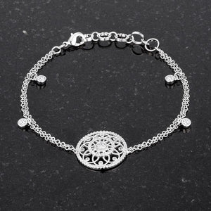 .5 Ct Rhodium Bracelet with Interlocking Circles and CZ - Jewelry Xoxo