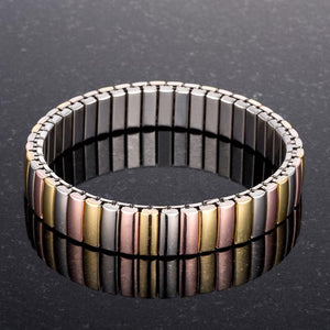 Tri-tone Stainless Steel Stretch Bracelet - Jewelry Xoxo