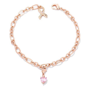 Rose Gold Plated Breast Cancer Awareness Ribbon and Heart Charm Bracelet