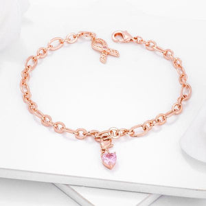Rose Gold Plated Breast Cancer Awareness Ribbon and Heart Charm Bracelet - Jewelry Xoxo