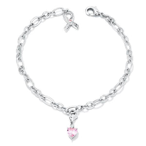Breast Cancer Awareness Ribbon and Heart Charm Bracelet