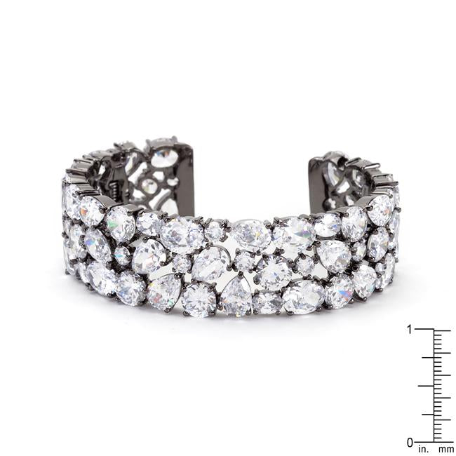 Bejeweled Cubic Zirconia Cuff Black Tone - Jewelry Xoxo