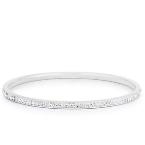 Simple Rhodium Plated Finish Crystal Bangle - Jewelry Xoxo