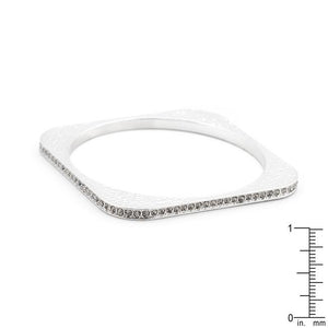 Hammered Cubic Zirconia Square Bangle - Jewelry Xoxo