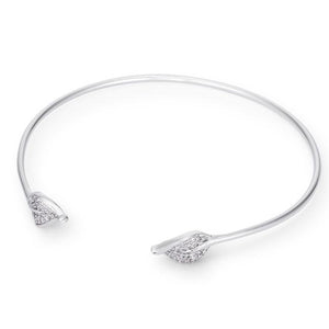 Trendy Rhodium Bracelet with Clear Cubic Zirconia Accents - Jewelry Xoxo
