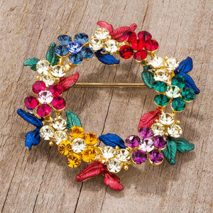 Multicolor Floral Wreath Brooch With Crystals - Jewelry Xoxo