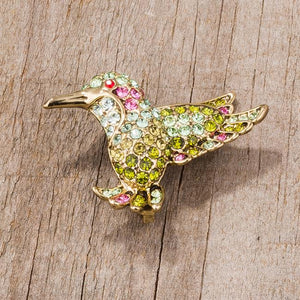 Multicolor Green Humming Bird Brooch With Crystals - Jewelry Xoxo
