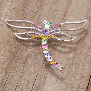 Rhodium Multicolor Dragonfly Brooch With Crystals - Jewelry Xoxo