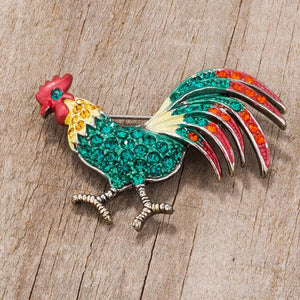 Antiqued Rooster Brooch With Crystals - Jewelry Xoxo