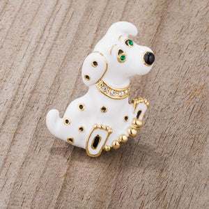 White Dalmatian Brooch With Crystals - Jewelry Xoxo