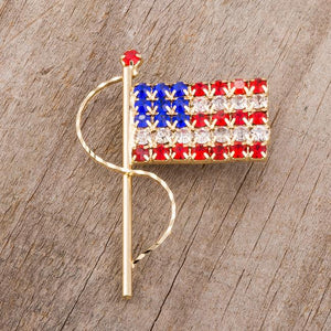 Gold Tone USA Flag Brooch With Crystals - Jewelry Xoxo