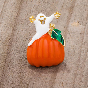 Pumpkin And Ghost Brooch With Crystals