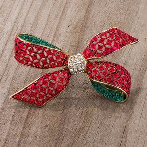 Red And Green Bow Brooch With Crystals