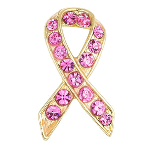 18K Plated Pink Crystal Awareness Pin - Jewelry Xoxo