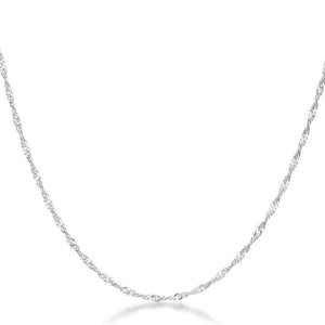 16 Inch Silver Twisted Chain - Jewelry Xoxo