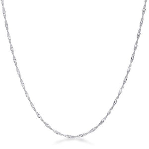 18 Inch Silver Twisted Chain - Jewelry Xoxo