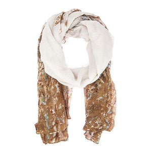 Brown Mona Watercolor Floral Scarf - Jewelry Xoxo
