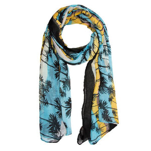 Blue Bonnie Tropical Scarf - Jewelry Xoxo