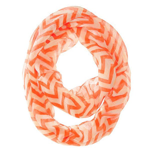 Zig Zag Neon Orange Infinity Scarf - Jewelry Xoxo