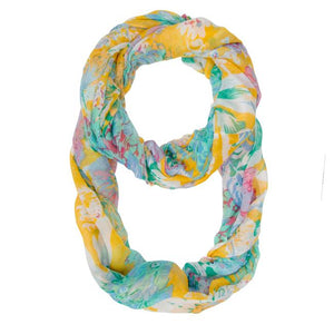 Wanda Multicolor Floral Print Infinity Scarf - Jewelry Xoxo