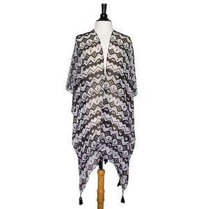 Black Gena Geometric Print Shawl Cover Up With Tassels - Jewelry Xoxo