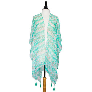 Mint Gena Geometric Print Shawl Cover Up With Tassels - Jewelry Xoxo