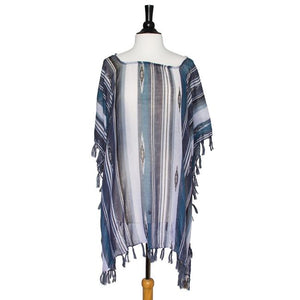 Grey Janna Striped Lightweight Poncho - Jewelry Xoxo
