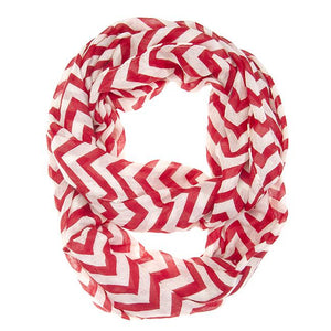 Striped Burgundy Infinity Scarf - Jewelry Xoxo