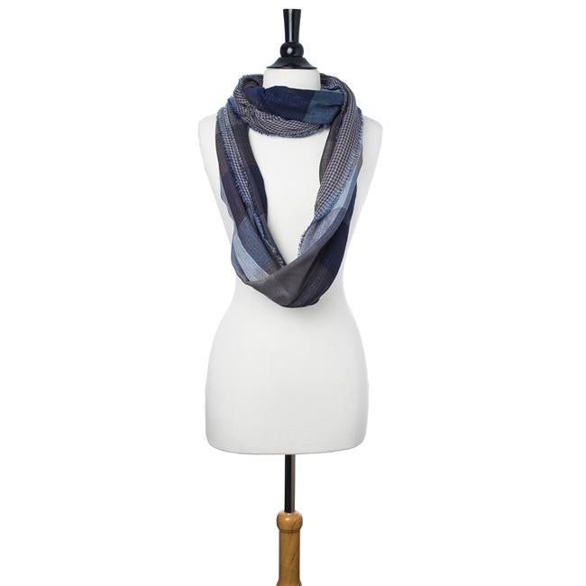 Blue Spencer Plaid Infinity Scarf - Jewelry Xoxo