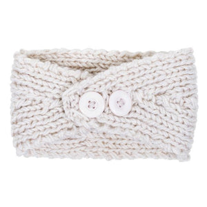 Off White Bernadette Heart Design Knit Headband - Jewelry Xoxo
