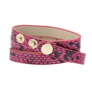 Pink Snakeskin Wrap Watch - Jewelry Xoxo