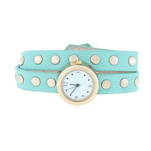 Mint Round Studded Wrap Watch - Jewelry Xoxo