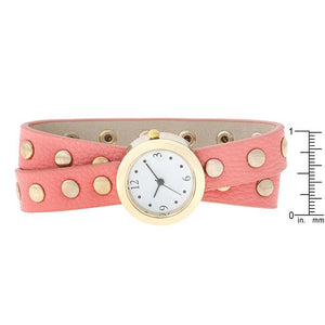 Pink Round Studded Wrap Watch - Jewelry Xoxo