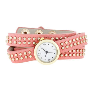 Pink Mini Studded Wrap Watch - Jewelry Xoxo