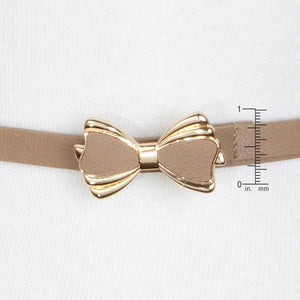 Taupe Bowtie Belt With Gold Trim - Jewelry Xoxo