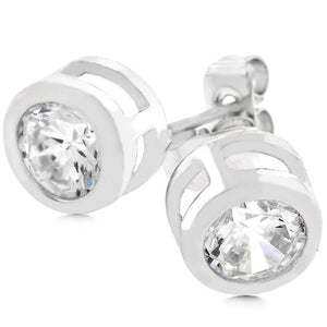 Bezel Stud Earrings - Jewelry Xoxo