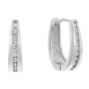 Elegant Rhodium Plated Finish Cubic Zirconia Hoop Earrings - Jewelry Xoxo