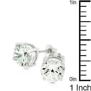 Clear Silver Round Studs 6.25 MM Earrings - Jewelry Xoxo