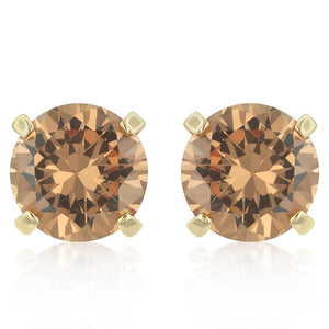 Simple Champagne Cubic Zirconia Studs - Jewelry Xoxo