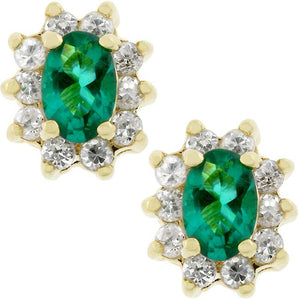 Emerald Flower Stud Earrings - Jewelry Xoxo