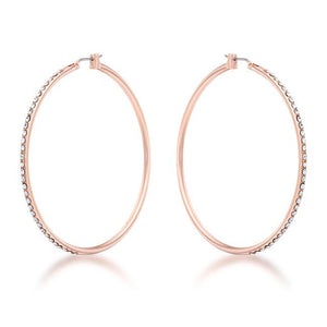 Large Rosegold Hoop Earrings with Crystals - Jewelry Xoxo