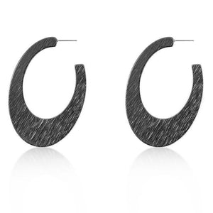 Contemporary Hematite Textured Hoop Earrings - Jewelry Xoxo