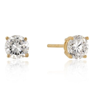 6mm New Sterling Round Cut Cubic Zirconia Studs Gold - Jewelry Xoxo