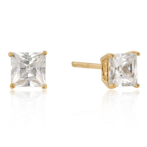 5mm New Sterling Princess Cut Studs Gold - Jewelry Xoxo