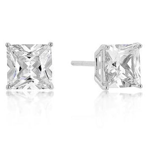 7mm New Sterling Princess Cut Cubic Zirconia Studs Silver - Jewelry Xoxo